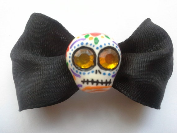 Day of the Dead Hand Painted Sugar Skull Bow