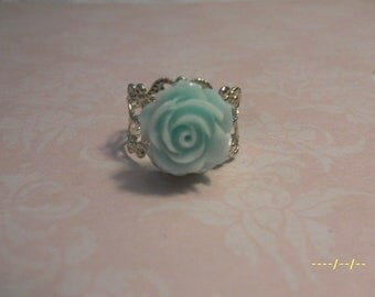 Pepperment Blue Rose Adjustable Ring