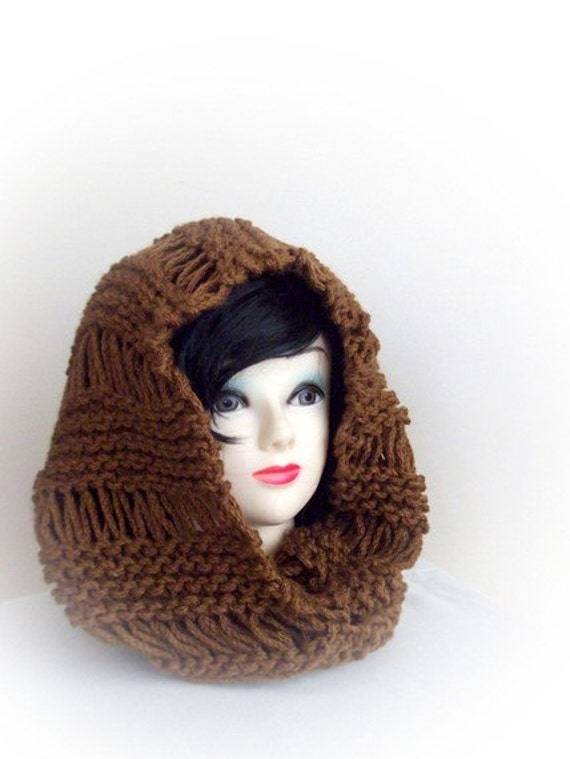 Brown Knit Cowl-Chunky Scarf Autumn Accessories Fall Cowl
