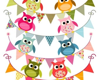 Owls and flag banners Digital clip art for Personal and Commercial use - INSTANT DOWNLOAD