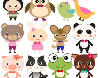 12 Cute Animal Digital clip art for Personal and Commercial use - INSTANT DOWNLOAD