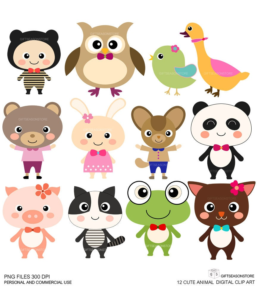 12 Cute Animal Digital clip art for Personal by Giftseasonstore