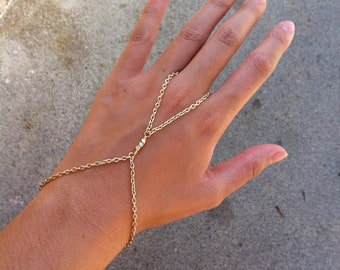 14K Shiny Gold 3 Nugget Bead Hand Chain Slave Harness
