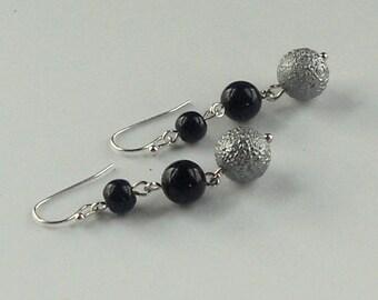 Black Matte Silver Dangle Earrings Festive Stardust Dangles Matching Necklace Fashion Jewelry Set Acrylic Jewellery