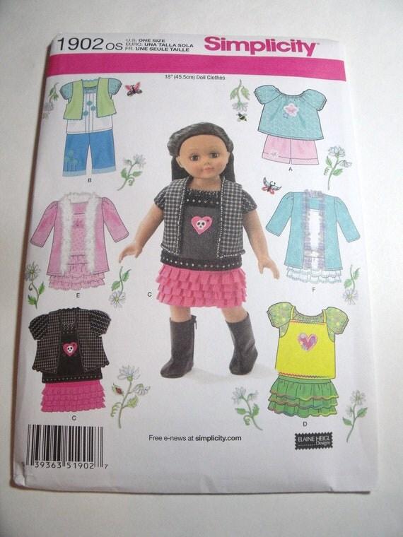 New Simplicity Patten doll clothes fits American Girl 18 inch dolls skirt pants jacket vest tops coat uncut