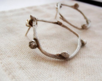 Willow Hoop Style Earrings - Sterling Silver Twig Earrings - Post Style - Cast Twig