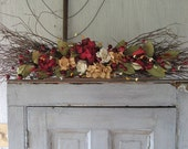 Rustic swag with Red and Tan Hydrangeas - Country decor - Primitive decor - Swag for door - Swag for mantle - Red and Tan swag - Year Round
