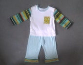 Baby Boy Clothes. 12M Outfit. Upcycled fabric. Boy clothing. Lil Hoot. SALE