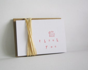 Set of Red Hand Stamped Thank You Cards and Envelopes