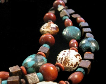 Assortment of Wood beads, Seeds, Bali and Sterling Silver beads necklace and earrings - PzVE0015