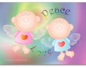 Angels card, single card, greeting card, love and peace