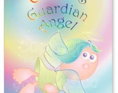 Angel print, personalized, guardian angel, name poster print, 11 x 14 inches, Design no.1