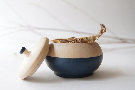 Mini Treasure Pot, Blueberry/Navy Blue:  Wedding Decor, Engagement, Special Jewelry Box, Toothfairy