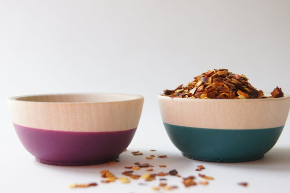Wooden Mini Bowl Set of Two: Teal and Plum, Autumn Decor