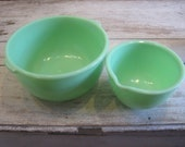 Vintage Set of 2 Jadeite Mixing Bowls