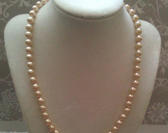 Powder Almond Knotted Glass Pearl Necklace