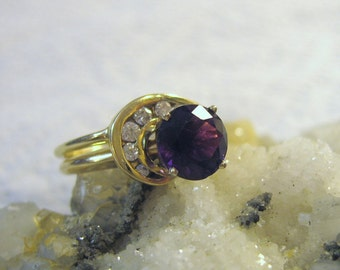 14K Gold Amethyst Ring, Diamond Ring Crescent Shape
