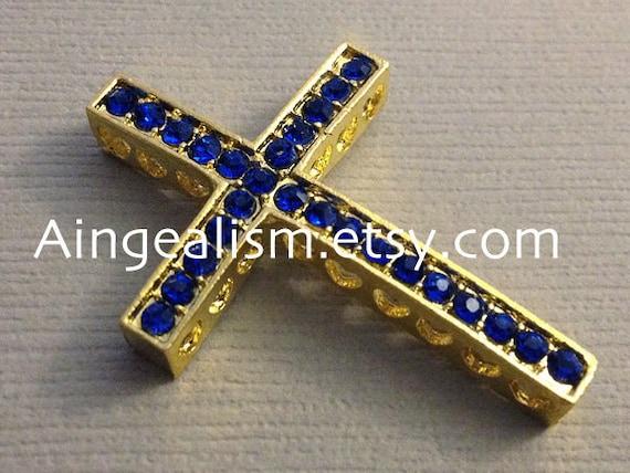Royal Blue Gold Rhinestone Connector Sideways Cross