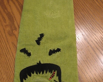 Hand Towel Bib-HALLOWEEN-Green Black-Frankenstein-Too Cute to be Scary