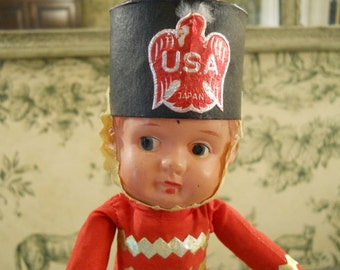 Celluloid Doll From Occupied Japan - Drum Major or Soldier