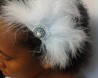 Gatsby Headpiece,Burlesque Feather Headpiece, Bridal Feather Fascinator, Great Gatsby, Wedding Hair Fascinator,White, Feather Hair Clip,HBJ5