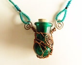 Aqua Mermaid Potion Vial Necklace - Handcrafted Glass Corked Bottle - Perfume / Aromatherapy Pendant - Recycled Copper Wire Wrapping