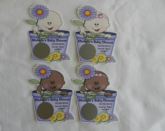 Unique Personalized Baby Shower A Baby is Blooming Scratch Off Lotto Game Card, shape of baby