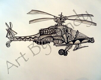Apache Helicopter Art