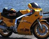 Yellow Suzuki Motorcycle At Lakeshore Photograph