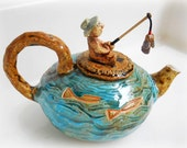 the Ocean Turquoise Blue Tea Pot set, Teapot set drawing fish decor