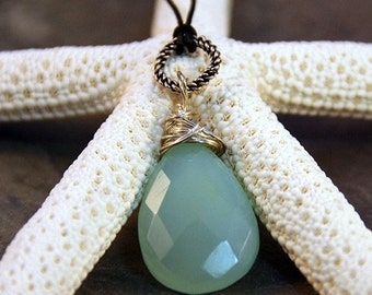 Aqua Blue Chalcedony Sterling Wire Wrapped Faceted Briolette on Tough Black Cord Sterling Clasp