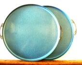 Vintage Large Enamel Blue Tray/ Set of 2