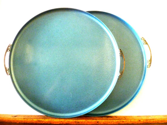 Vintage Large Enamel Blue Tray/ Set of 2