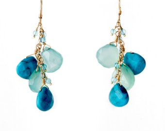 Turquoise, Chalcedony and Apatite Earrings, Gemstone Blue Cluster Earrings