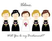 Will You Be My Bridesmaid cards, Maid of Honor, Custom made and personalized Bridesmaid Card - DIY - Printable black