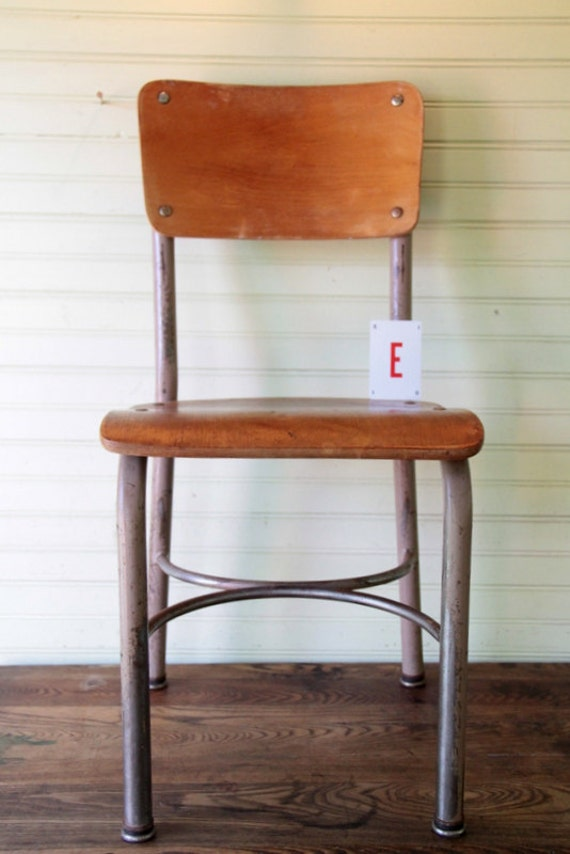 Vintage Child School Chair Wood and Metal