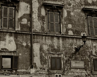 Travel Rome Italy Trastevere Neighborhood Street Sign Black and White Photograph