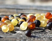 Multicolored Raw Baltic Amber beads with drilled hole. 50 pcs