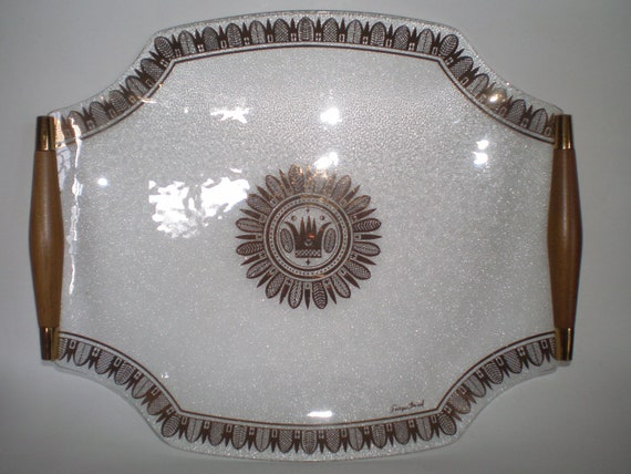 RESERVED for remmyly Georges Briard Bent Glass Serving Tray Regalia Pattern 22K Gold