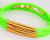 Neon Green and Gold Tube Wrap Bracelet