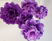 5 mixed Medium & Small Two Toned Purple Tissue Paper Pom Poms Nursery Mobile / Baby Shower / Decoration FAST TO SHIP