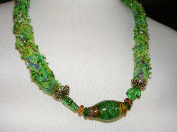 Soft Jewelry Knitted Spring green necklace with geen and orange medley focal section