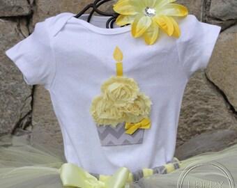 CHIC YELLOW GRAY--Birthday Cupcake Bodysuit or Shirt Only, sizes Newborn-5T