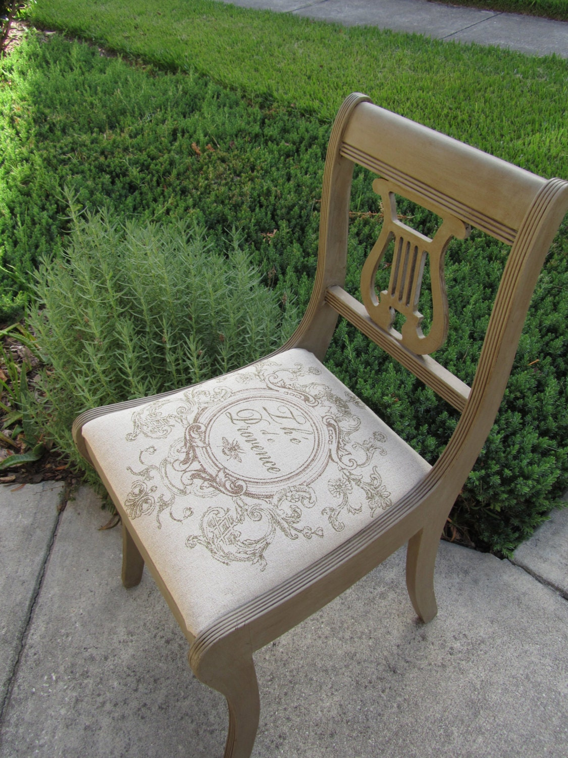 Lyre Back Chair In French Linen Chalk Paint