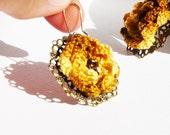 Crocheted Earrings Sunset flowers Brass antique jewelry
