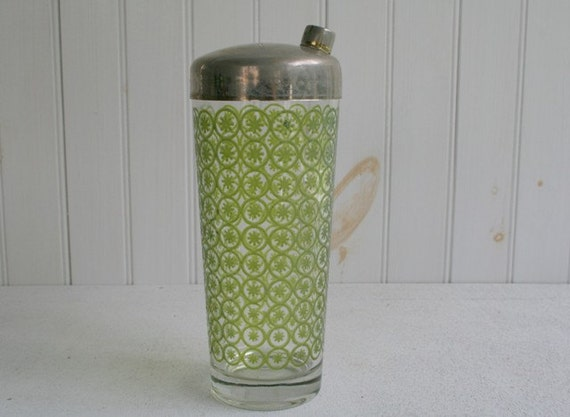 Vintage Drink Mixer, Cocktail Shaker, Martini Shaker with Green Starburst Pattern and Brushed Metal Lid