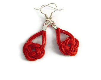 Knot Earrings, Red Earrings, Statement Earrings, Celtic Knot Earrings, Sailor Knot, Macrame