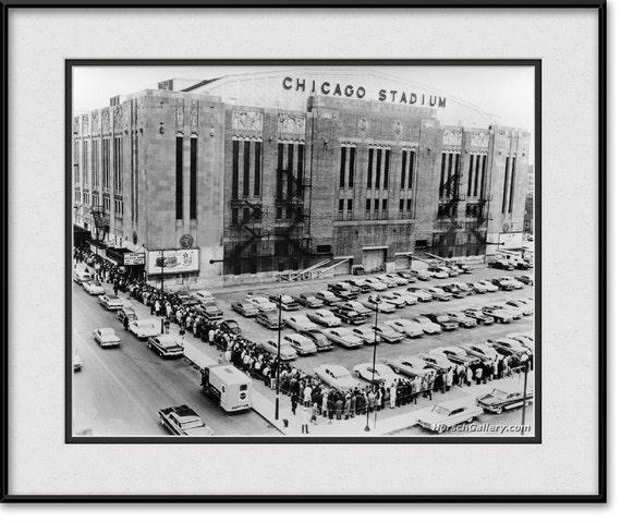 Vintage Chicago Stadium Photograph - Chicago Blackhawks Black and White  Art Print, Picture, Photo, Wall Art