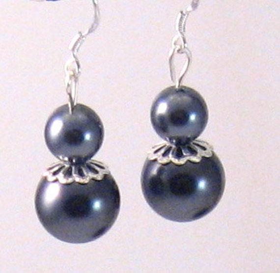 Dark Grey/Platinum/Charcoal Pearl & Silver Filigree Earrings, Grey Jewelry, Platinum Jewelry, Smoke Jewelry, Fall jewelry, Birthday Gifts