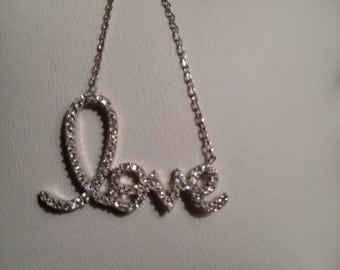 LOVE necklace in Pave, rose gold,sterling silver all vermeil